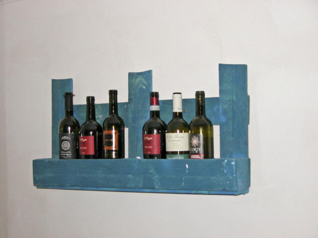 Porta bottiglie in pallet blu COD. ARR02