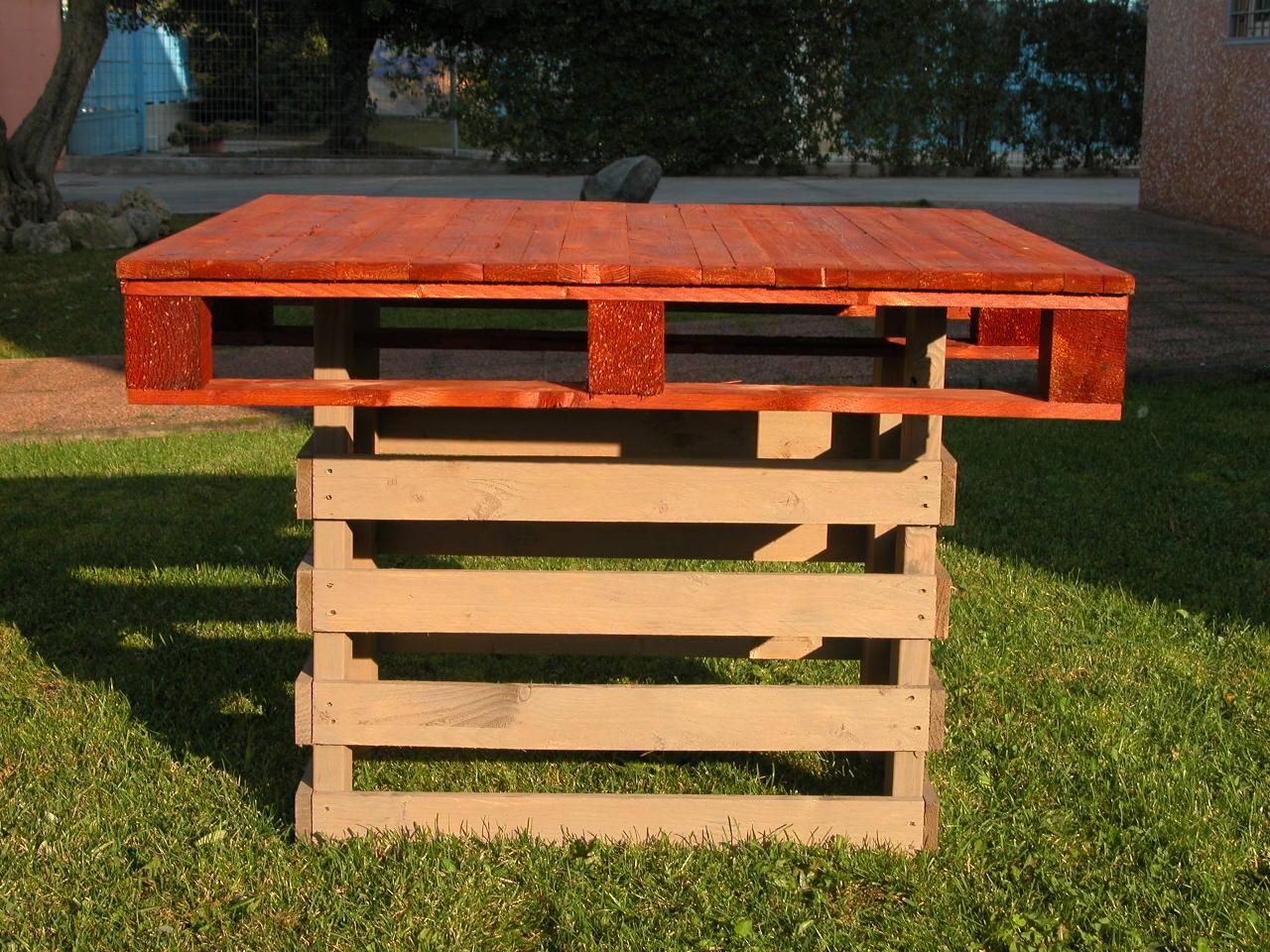 Tavoli per giardino mobili in pallet for Pallet arredo giardino