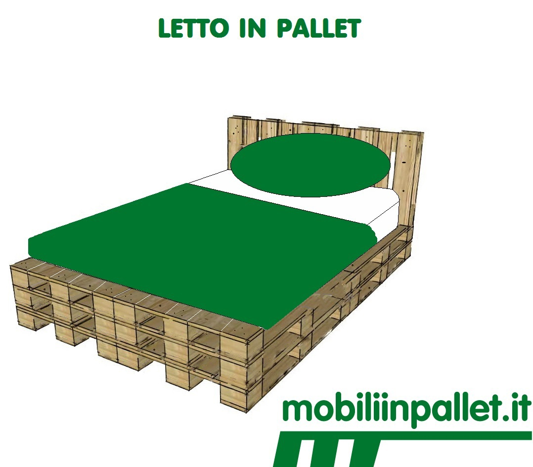 Letto con i pallet mobili in pallet - Letto singolo pallet ...
